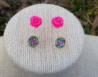 Southwestern Jewelry, Delicate Earrings, Minimalist Earrings, Cabochon Earrings, Stud Earrings, Flower Earrings, Anniversay, Gift for Mom
