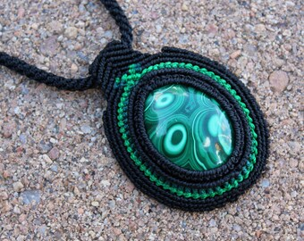 Green and Black Handmade Congo Malachite Micro Macrame Necklace, OOAK, Gypsy