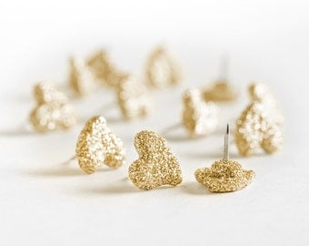 Gold Glitter Wedding Heart Push Pins. Modern Home Office Cork Board Design. Perfect Gift for Wife,Sister, Teachers, Event Planners.Set of 12