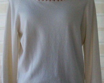 Soft Ivory colored Sweater with Copper colored Trim