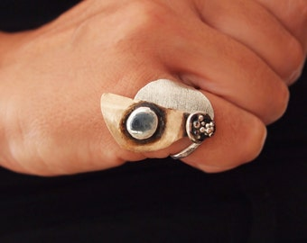 """Mixed Metal Ring, Unusual, Contemporary Jewelry,Bronze and Sterling Silver  """" Toprak ( Soil ) """" Collection"""