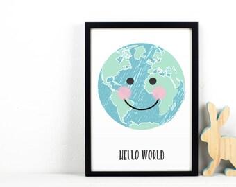Personalised New Baby Print, Nursery Wall Art, World Map Print, Hello World, Childrens Wall Art, New Baby Gift, Nursery Decor, Nursery Print