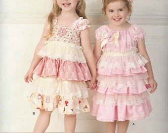 Simplicity 1474 Girls party dress frilly tiered skirt straight bodice/yoke or gathered round neckline Size 2-3-4-5-6 (uncut) sewing pattern