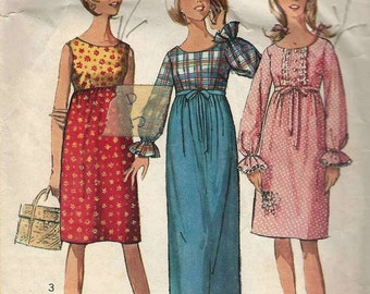 Simplicity 6411 Semi Fitted dress round neckline empire gathered waistline tie with/out long sleeve variations Size 5jp Bust 31""