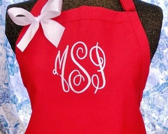 Personalized Apron Monogrammed Initials Goumet Chef Style