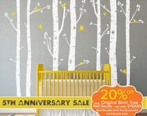 Birch Tree Wall Decals   Seven Birch Trees with Flying Birds   Baby Nursery, Children's Room Interior Designs   Easy Application 009