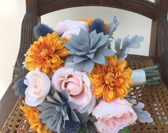 Orange Blush Succulent Silk Wedding Bouquet with Peony, Echeveria, Thistle, Dahlia, Rose & Dusty Miller