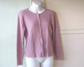 Blush Pink Cable Cardigan~Small-Medium Pink Button Up Sweater~Preppy Cardi; Free Shipping/U.S.