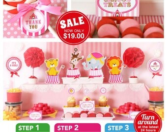 Vintage Pink Carnival Circus Baby Shower Package Personalized FULL Collection Set - PRINTABLE DIY - BS801CA2x