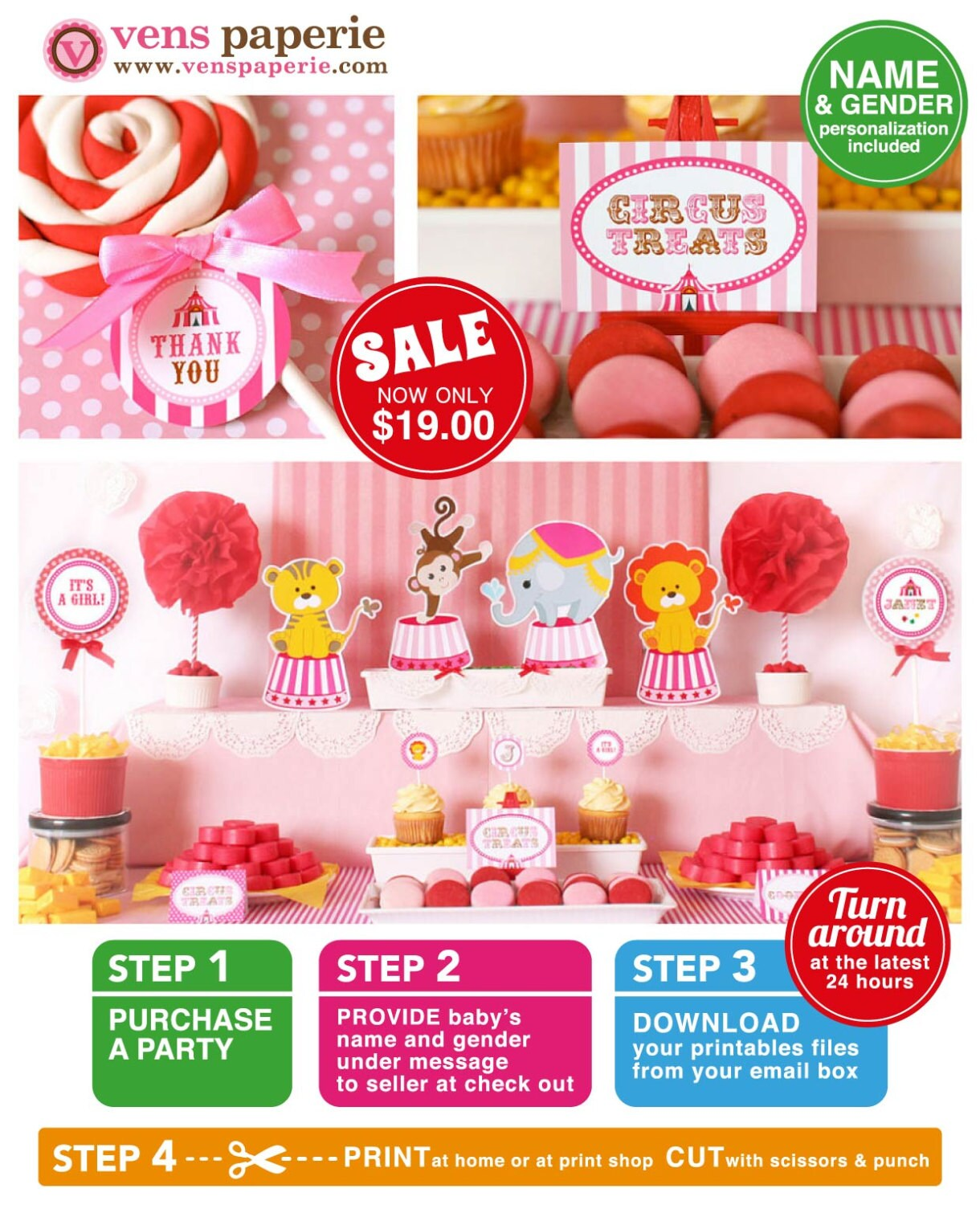vintage pink carnival circus baby shower package personalized