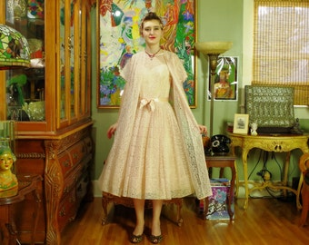Vintage 60's Peach Lace Dress & Coat Set . Bridal Wedding Party . Swing Dance . Retro 40s / 50s New Look style Prom . Bridal Salon Boutique.