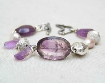Ametrine bracelet. Silver bracelet with ametrine. Pulsera con ametrino. Bohemian bracelet. Boho chic bracelet. Gypsy bracelet. Statement.