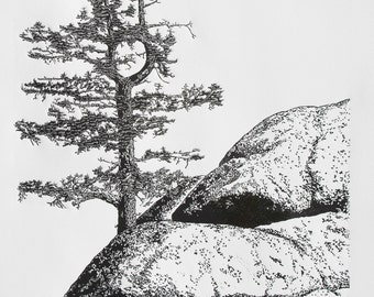 Elemental - Yosemite, Fine Art Linocut Print 24 x 18 Black & White, National Park, Fir Tree perched on Granite Cliff and Rocks, Relief Print