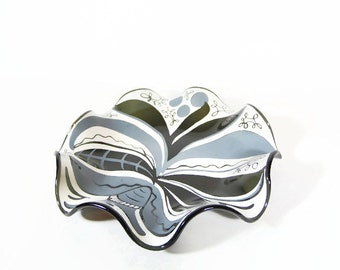 Houze Art Glass Dish, Wavy Smoke Glass Ruffle Plate, Unique Candy Dish, Mid Century Abstract, Tree Painting on Plate, Glass Catchall Dish