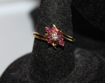 Vintage 14KP Ruby & Diamond Ring, size 6 1/4- FREE SHIPPING