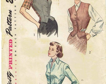 40s Fitted Jacket & Weskit Pattern Simplicity 2962. Jacket and Vest with Pointed Hem, Notched Collar, Sleeve Variations. Size 16 Bust 34