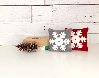 Snowflake Pillow, Balsam Pillow,  Rustic Winter Pillow, Christmas Pillow, Cabin Decor, Red, Gray Pillow, Little Pillow, 6 Inch Square Pillow