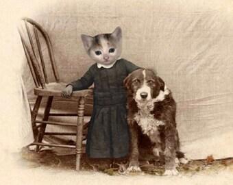 Wynn, Vintage Cat Print, Cat and Dog, Anthropomorphic, Whimsical Cat Art, Unique Cat Art, Funny Cat, Digital Art Print, Vintage Cat Cards