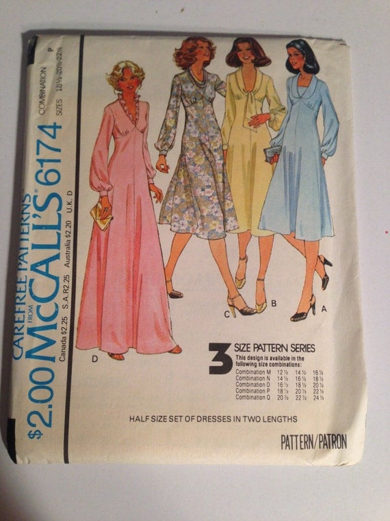 McCall's Sewing Pattern 6174 70s Misses Half Size Set of Dresses in Two Lengths Size 18 1/2 - 22 1/2