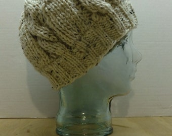Hand knit cabled slouchy hat