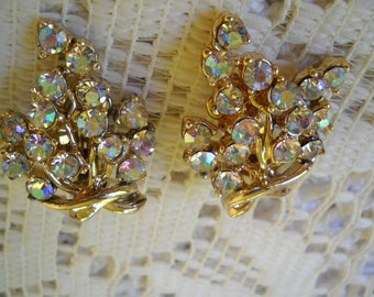 Vintage BSK Earrings, Aurora Borealis Earrings, Large Rhinestone Clip Ons, Party Jewelry,  Prong Set, Wedding Earrings, Craft Supplies