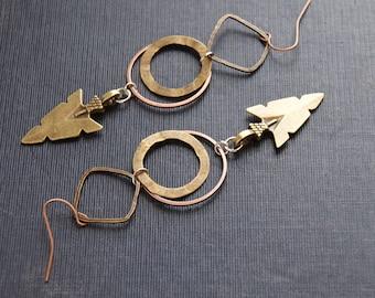 Tribal Arrow Earrings Hammered Geometric Earrings Arrowhead Earrings Arrowhead Jewelry Metal Arrow Earrings Hammered Hoops Organic Shapes