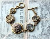 Antique Button Bracelet, Historic Jewelry Victorian, Denim Blue, Antique Button Jewelry, Charm Bracelet, Upcycled Jewelry, veryDonna Sutor