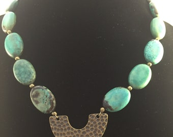 Turquoise Necklace with Brass Pendant