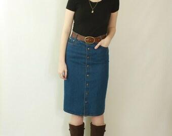 Bohemian jean skirt | Etsy