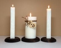 Rustic Unity Candle Set and Stand for Wedding Ceremony- Personalized with Monogram Initials