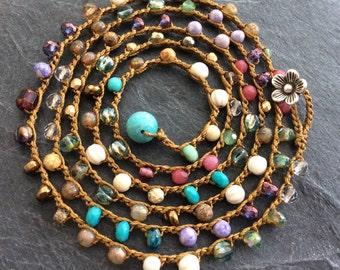 Crochet colorful wrap bracelet necklace - mix of semi precious beads, summer beach jewelry by mollymoojewels