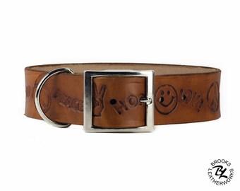 Leather Dog Collar, Embossed Leather Dog Collar, Leather Pet Collar. 1.5 Inch Wide Embossed Leather Dog Collar