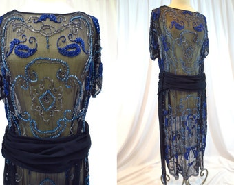 Midnight Blue Beaded Silk Flapper Dress with Skirt Panels, Detachable Belt and Sash with Fringe