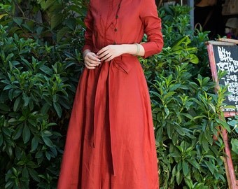maxi linen red in red, winter linen dress, red dress with butterfly tie on the waist, evening dress, formal dress, cocktail dress, bridesmai