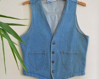 1970s Womens Denim Vest, Stone Wash Button Down Vest, Sears Put On Shop