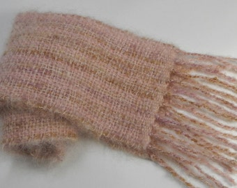 Handwoven mohair brushed wool scarf pink mauve gold