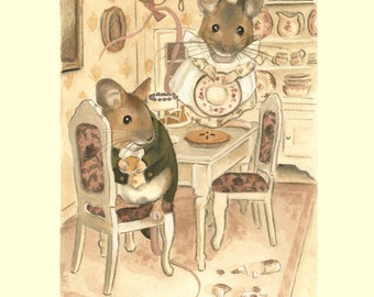The Town Mouse & The Country Mouse: Dollhouse Print 8x10 - illustration, children's art, nursery, home decor, mouse, mice, kids, home decor