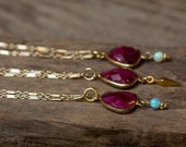 Opal Necklace, Ruby Necklace, Ruby Pendant, Blue Opal Necklace, Gold Opal Necklace, Bezel Set Necklace, Layering Necklace, Long Necklace