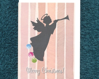 Christmas Angel Trumpet Bauble Card Modern Recycled