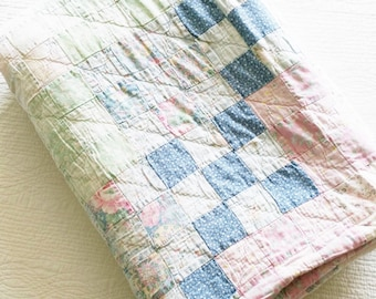 Vintage Romantic Home French Blue, Celadon Green, and Shabby Pink Bedroom Quilt, Olives and Doves