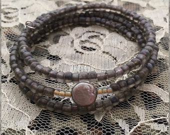 Fresh Water Pearl Frosted Gray Seed Bead Spiral Bracelet