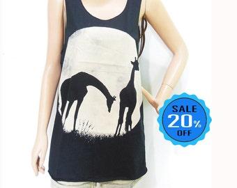 giraffe shirt full moom tshirt graphic tee tumblr funny tee slogan tshirt quote shirt cool tee women shirts unisex tank sleeveless size M
