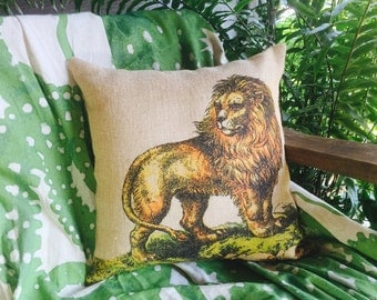 Lion Burlap Pillow, Natural History Throw Pillow, The Watson Shop