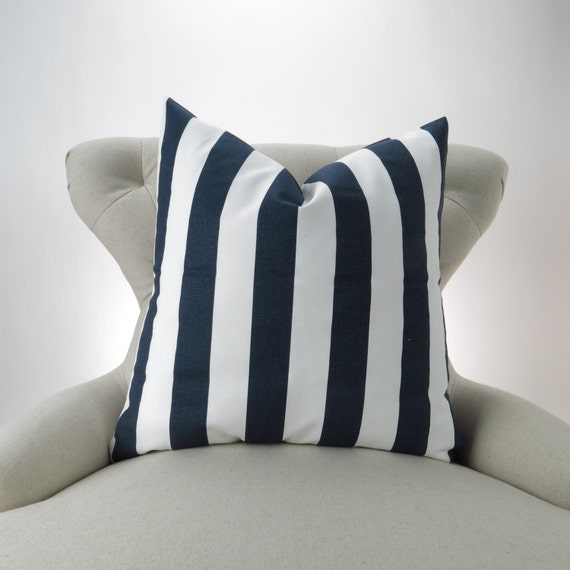 navy stripe pillow cover accent pillow euro sham decorative. Black Bedroom Furniture Sets. Home Design Ideas