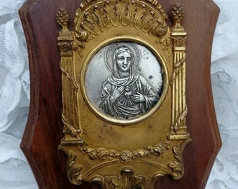 French  Vintage ,Holy Water Font ,Antique Virgin Mary, Holy Shrine  ,Shabby & Chic ,Holy Water Stoop Benitier