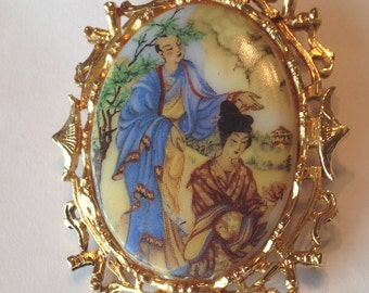 Vintage Japanese Geisha Brooch Pin ~ 1950s ART Signed ~ Arthur Pepper ~ Beautiful!