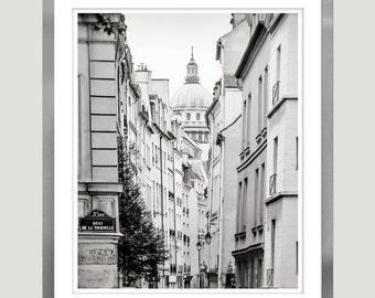 Paris black and white photography, large wall art, architectural Paris print, city photo, living room, grey art, large poster, 11x14, 16x20