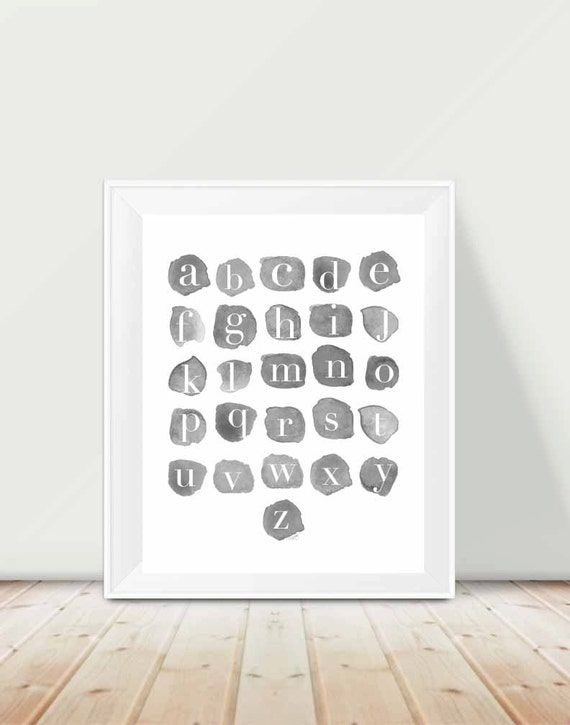 Gray Alphabet Print for Playroom, 11x14 Watercolor Swatches