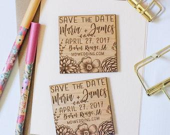 Custom Save the Date Wood Magnet, Wooden Save the Dates, Wedding Favor Magnets, Custom Wedding Floral Invitation, Wood Slice Magnet