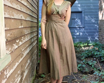 """TEA Length ALINE DRESS Vintage 50s Rockabilly Sailor Striped Tie """"Trudy Hall"""" Woman Size Small High Waist Belted Brown green tint Fall Frock"""